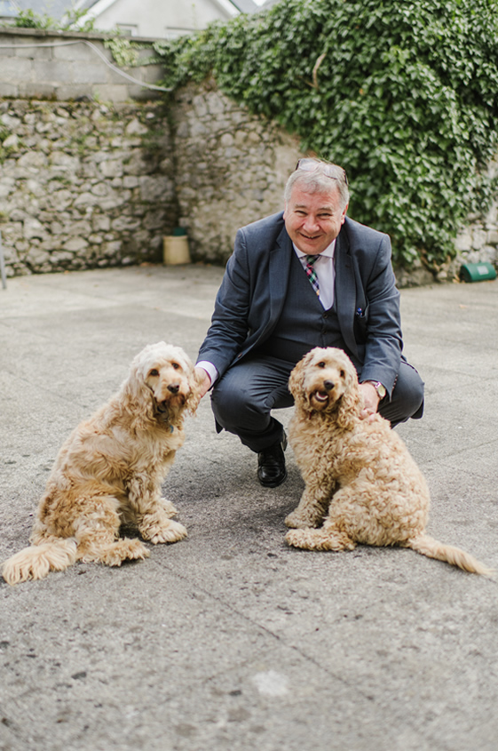 Eamonn Gallagher and his two dogs